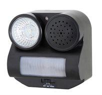 מכשיר להרתעת יונים, ציפורים ועטלפים, בעל תאורת לד חזקה ואזעקה קולית, להפעלה במצב לילה ויום