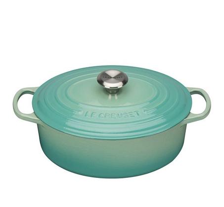 """סיר ירוק מנטה 29 ס""""מ אובלי ברזל יצוק לכל סוגי הכיריים ולתנור"""