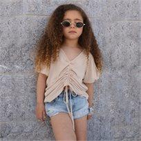 חולצת Oro לילדות (מידות 3-8 שנים) בז' קיווצים