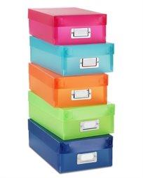 קופסאות אחסון מפלסטיק - מגוון צבעים - סט של 5