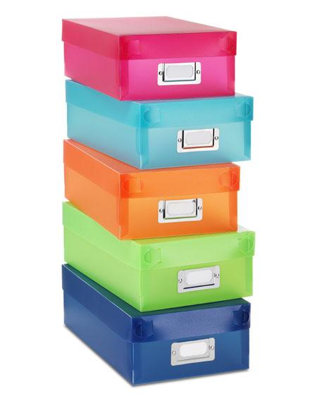 מותג חדש קופסאות אחסון מפלסטיק - מגוון צבעים - סט של 5 PU-45