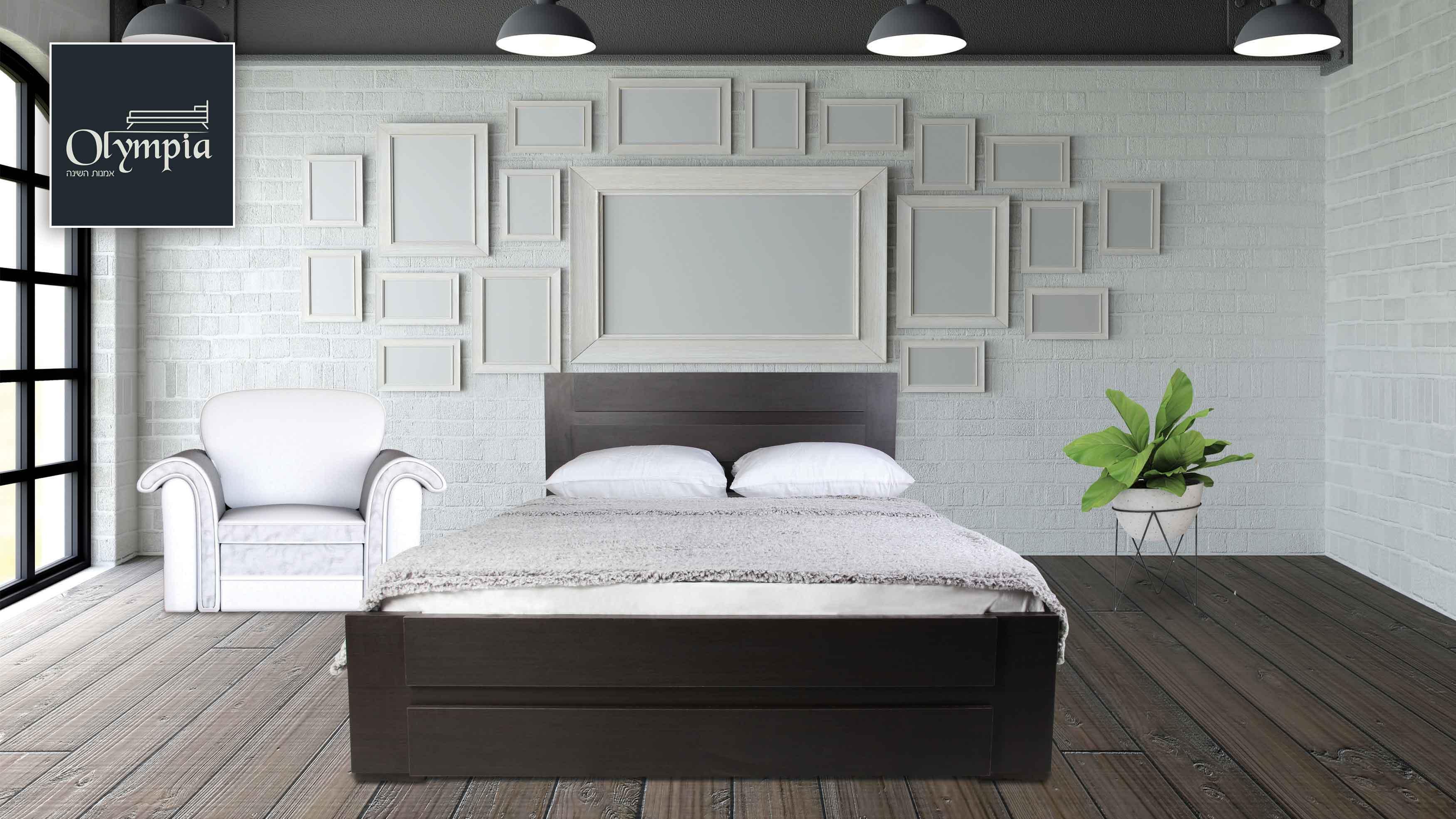 מיטה מעוצבת עשויה עץ במגוון צבעים לבחירה + מזרן קפיצים מתנה Olympia - תמונה 2