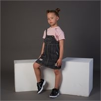 סרבל Oro לילדות (מידות 2-7 שנים) ג'ינס שחור