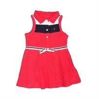 NAUTICA שמלת פולו (מידות 12 חודשים) אדומה עם תחתון