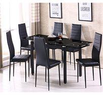 פינת אוכל מודרנית עם הרחבה כולל 6 כסאות
