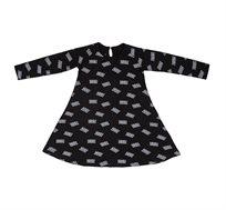שמלת ג'רזי מסתובבת בגזרה מפנקת עם לולאת סגירה בעורף - שחור עם קסטות