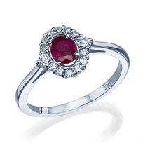 טבעת וינטאג' בשיבוץ רובי אדומה במרכז הטבעת זהב לבן