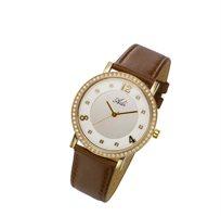 שעון יד לאישה מבית המותג ADI - עשוי פלדת אל חלד בשילוב אבני חן ורצועת עור חומה