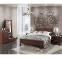 חדר שינה קומפלט עשוי עץ דגם סער הכולל מיטה זוגית, שתי שידות, קומודה ומראה