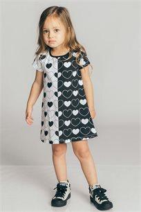 שמלת טריקו לבנות - שחור/לבן