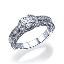 """טבעת יהלומים """"ליז"""" בעיצוב עתיק ומיוחד 0.63 קראט זהב לבן"""