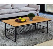 שולחן סלון מודרני מעץ בשילוב ברזל שחור דגם VALENCIA