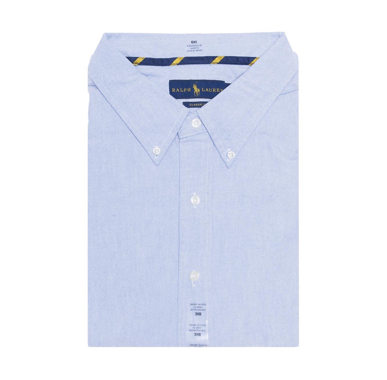 חולצה מכופתרת POLO RALPH LAUREN CLASSIC FIT מידות גדולות - תכלת עם לוגו חום