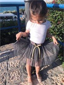 Oro חצאית טוטו(7-2 שנים)- אפור כוכבים