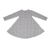 שמלת ג'רזי מסתובבת קלאסית - אפור עם לבבות