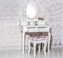 שידת איפור טואלט בעיצוב וינטג' 4 מגירות, עם מראה מתכווננת וכיסא תואם במתנה!