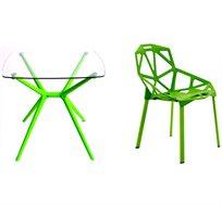 סט ריהוט לגן שולחן זכוכית עם 2 כסאות בשילוב פלסטיק ומתכת דגם ספיר