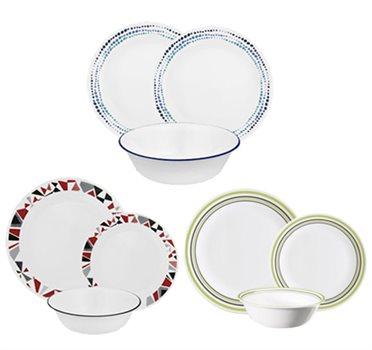 סט 18 חלקים של צלחות זכוכית במגוון דגמים לבחירה מבית CORNING