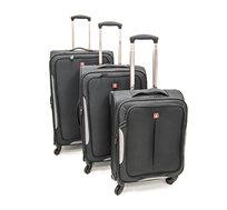 סט 3 מזוודות קשיחות SWISS דגם TD140215 EVONY BLACK בצבע שחור