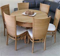 סט שולחן אוכל עגול נפתח עד למעלה מ-3 מטר כולל שישה כסאות מרופדים עשוים עץ אלון מבוקע
