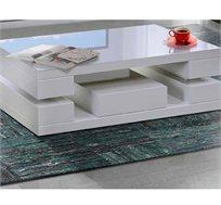 שולחן סלוני מודרני LEONARDO בגימור לבן מבריק