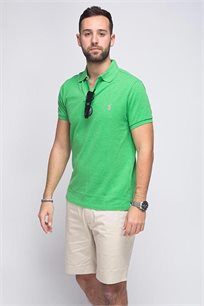 חולצה פולו POLO RALPH LAUREN SLIM FIT - ירוק זוהר