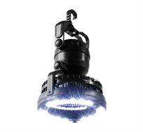 פנס מאוורר קמפינג בעל 18 נוריות תאורת לד בהירות ונעימות ומאורר שטח קומפקטי