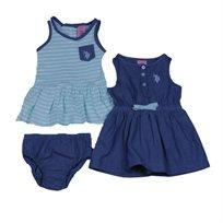 Us Polo יו אס פולו (6 חודשים- 5 שנים) זוג שמלות סרפן - ג'ינס ופסים מנטה