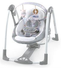 נדנדה חשמלית ניידת לתינוק מסדרת בוטיק היוקרתית עם חיישן משקל בצבע Arabella Pink ורוד