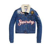 ג'קט ג'ינס לנשים בצבע כחול SUPERDRY BORG GIRLFRIEND