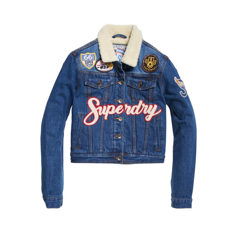 ג'קט ג'ינס לנשים כחול SUPERDRY BORG GIRLFRIEND
