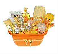אמבטיית באבלס צהובה - מתנת לידה מקסימה ושימושית המורכבת ממוצרים איכותיים לזמן אמבטיה כיפי ומפנק