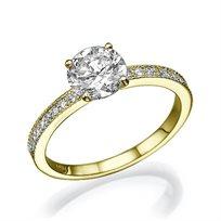 """טבעת אירוסין זהב צהוב """"לורן"""" 0.71 קראט יהלומים"""