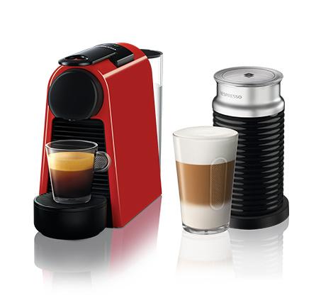 מכונת  NESPRESSO אסנזה מיני בצבע אדום דגם D30 כולל מקציף חלב ארוצ'ינו
