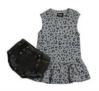 שמלה בהדפס מנומר + תחתון Minene לבנות בצבע אפור/שחור