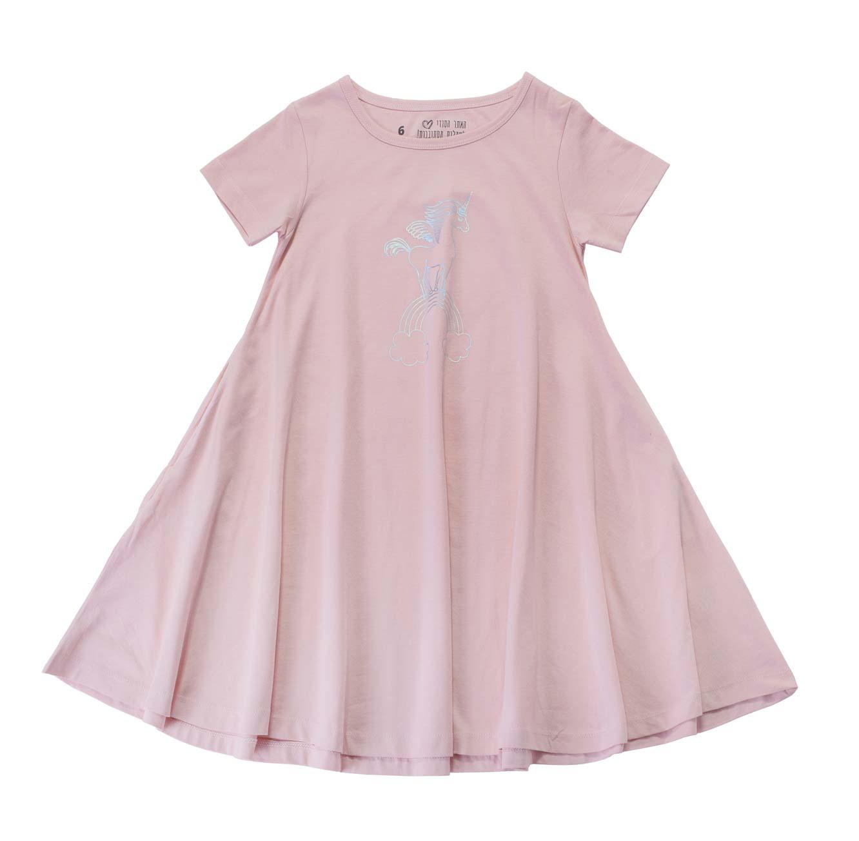 שמלה מסתובבת חד קרן וקשת - ורוד