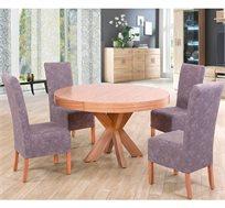 שולחן ו-4 כסאות מעץ מלא לפינת אוכל בריפוד בד רחיץ