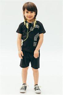 חולצת טריקו קצרה בהדפס סימן שאלה לבנים Kiwi בצבע שחור