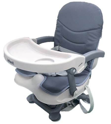 מושב הגבהה לתינוק גוסטו מתקפל עם מגש וריפוד שליף ורחיץ - אפור