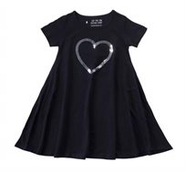 שמלה מסתובבת לב פייטים בצבע שחור