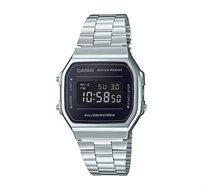 שעון יד דיגיטלי רטרו - כסף/שחור