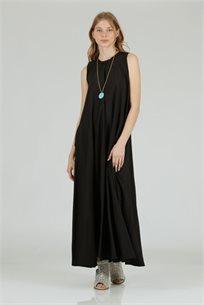 שמלה סאטן מקסי גומי שחור - קקאו