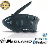 דיבורית Bluetooth A2DP לאופנועים, רדיו FM ושיחות אינטרקום של 3 רוכבים עד 800 מ' MIDLAND BTx2FM