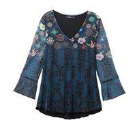 חולצה מודפסת עם שרוולים מתרחבים לנשים Desigual דגם Bruce בצבע כחול