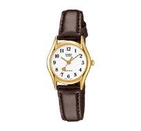 שעון יד אנלוגי לב עם רצועת עור - חום
