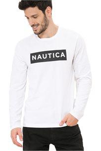 חולצת טי שרט ארוכה Nautica עם צווארון עגול לגברים דגם 93306V1BW בצבע לבן