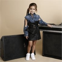 ORO חצאית עור (7-2 שנים)- חגורה