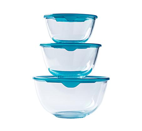 סט 3 קערות מזכוכית בגדלים שונים עם מכסה Pyrex
