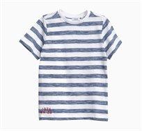 חולצת טי OVS קצרה לילדים פסים - כחול/לבן