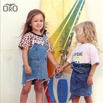 חולצת Oro לילדות (מידות 2-7 שנים) מנומרת ורוד